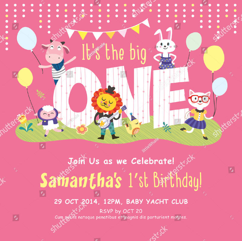 baby 1st birthday party invitation card