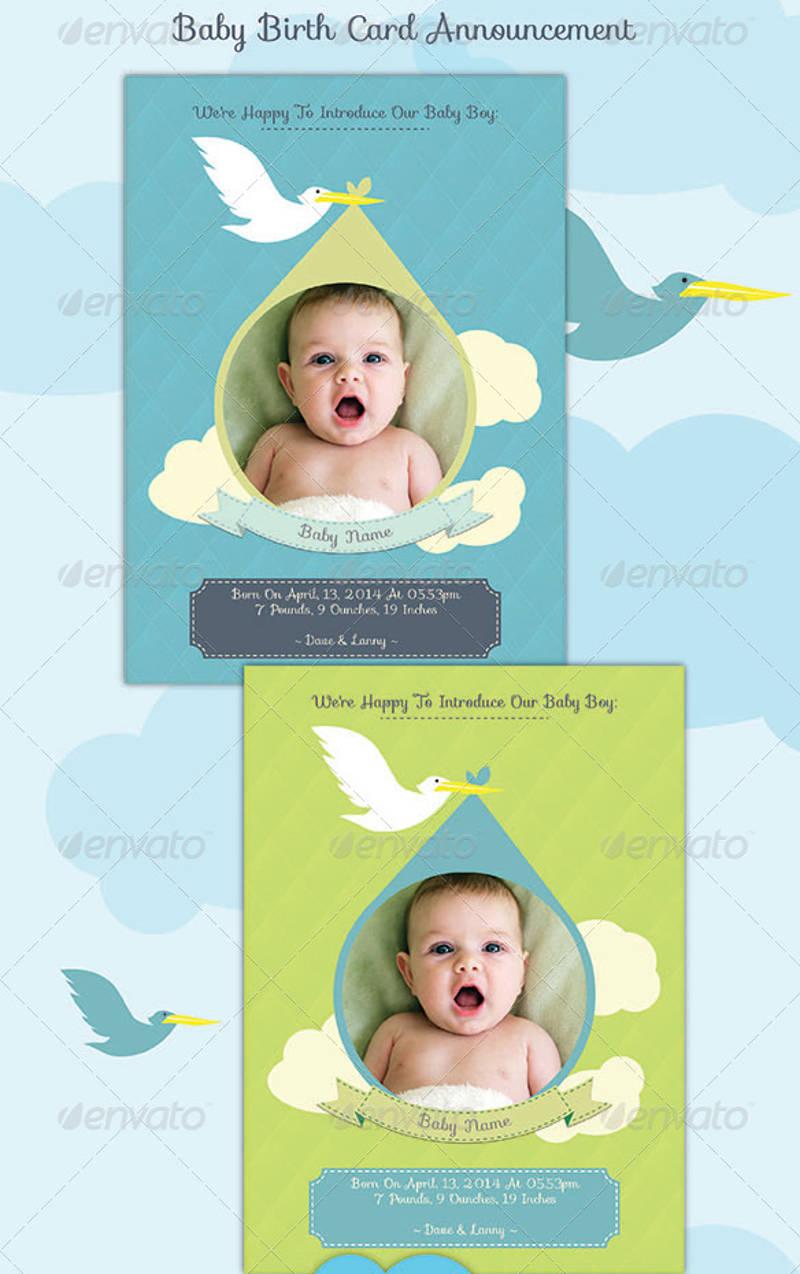 baby birth announcement invitation card
