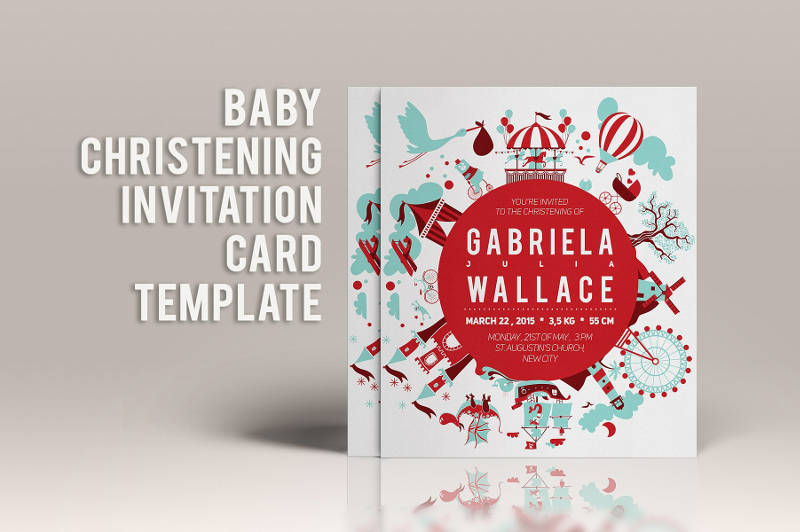 baby christening invitation card template1