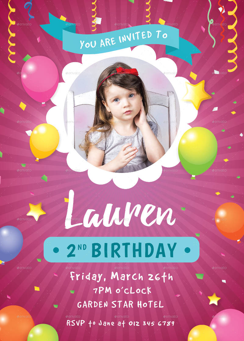 baby girl 2nd birthday invitation