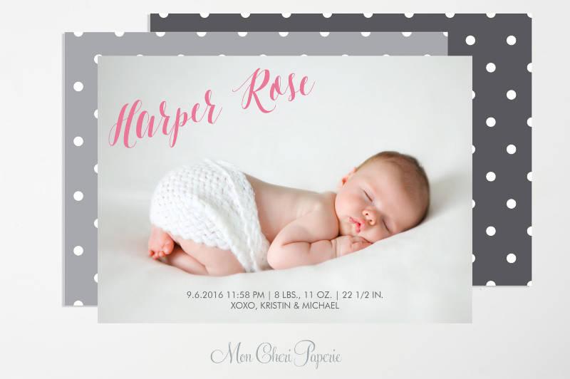 baby girl birth announcement invitation