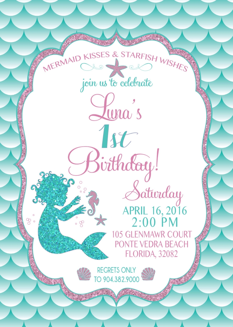 baby mermaid birthday invitation