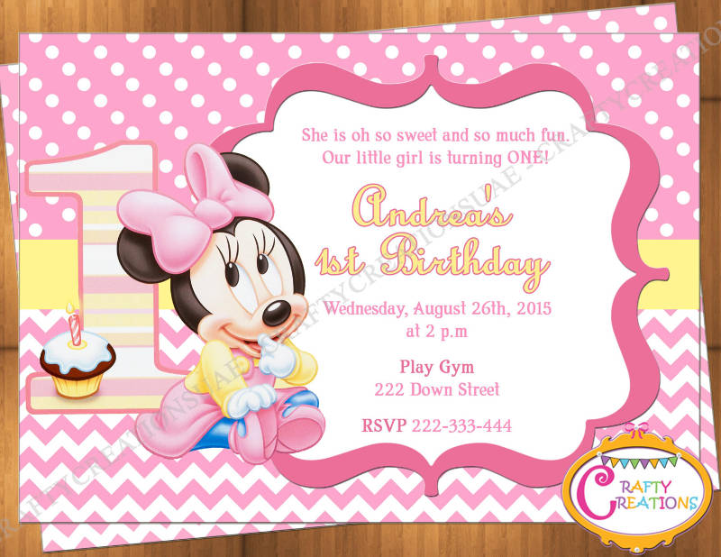 baby minnie mouse first birthday invitation