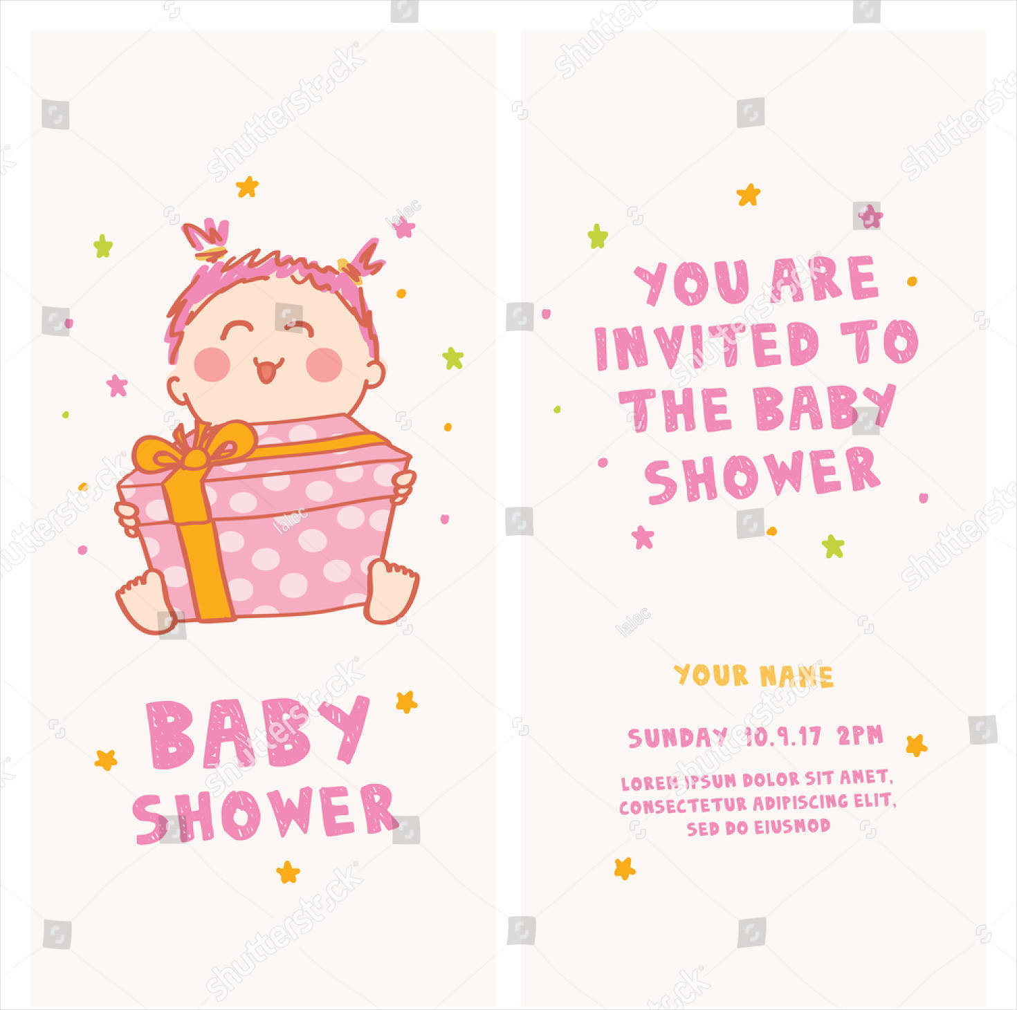 baby shower invitation cute girl