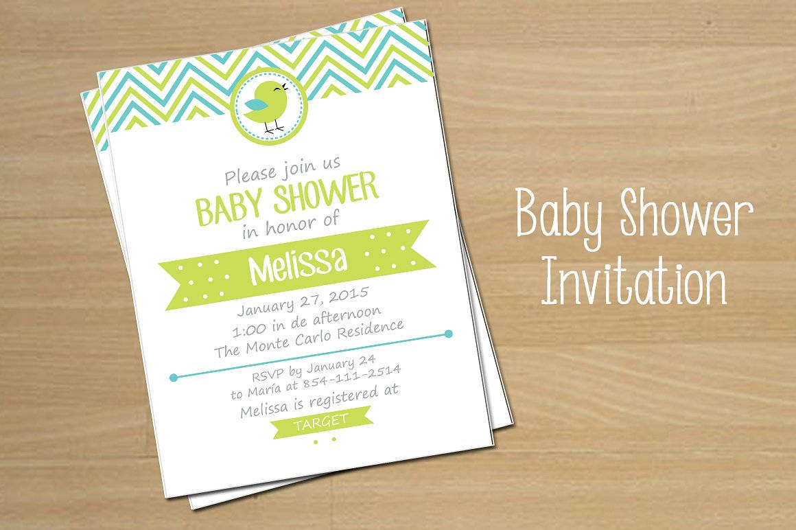 baby shower invitation in vector eps