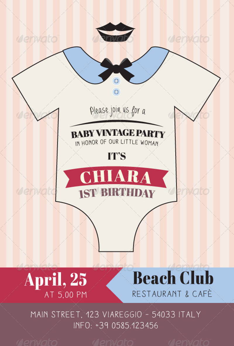 baby vintage birthday party invitation