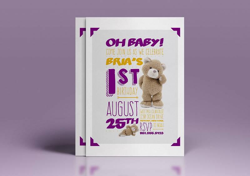 babys 1st birthday invitation