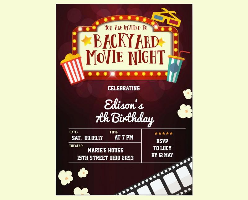backyard movie night birthday party invitation1