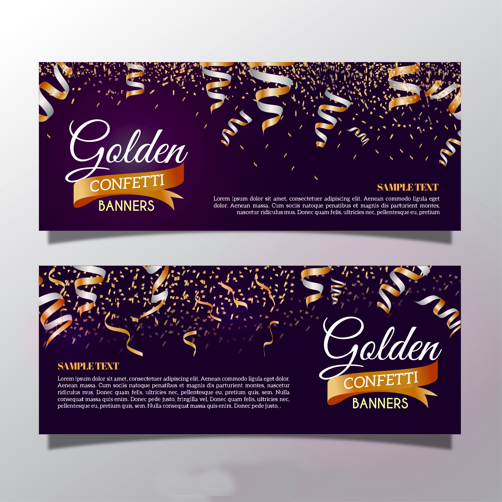 banners of golden confetti