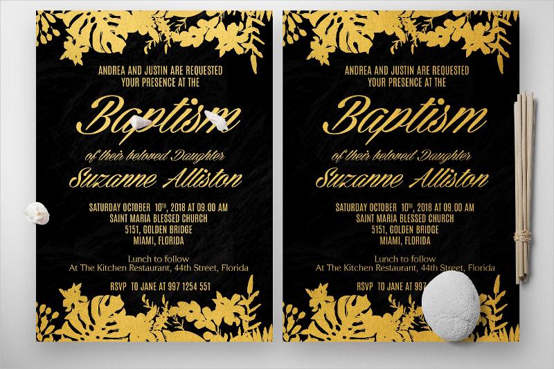 baptism gold florist invitation