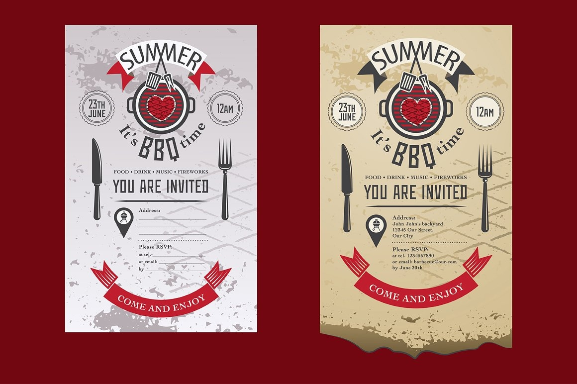 barbecue summer party invitation