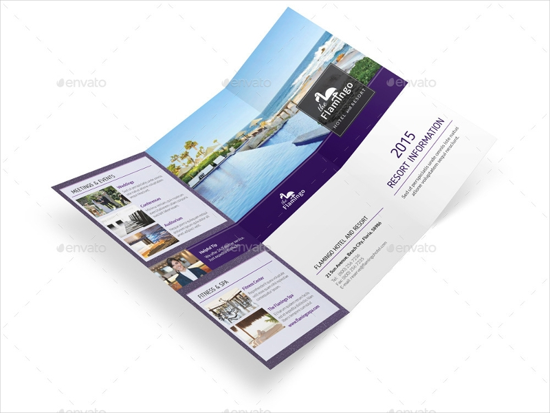 beach resort trifold brochure