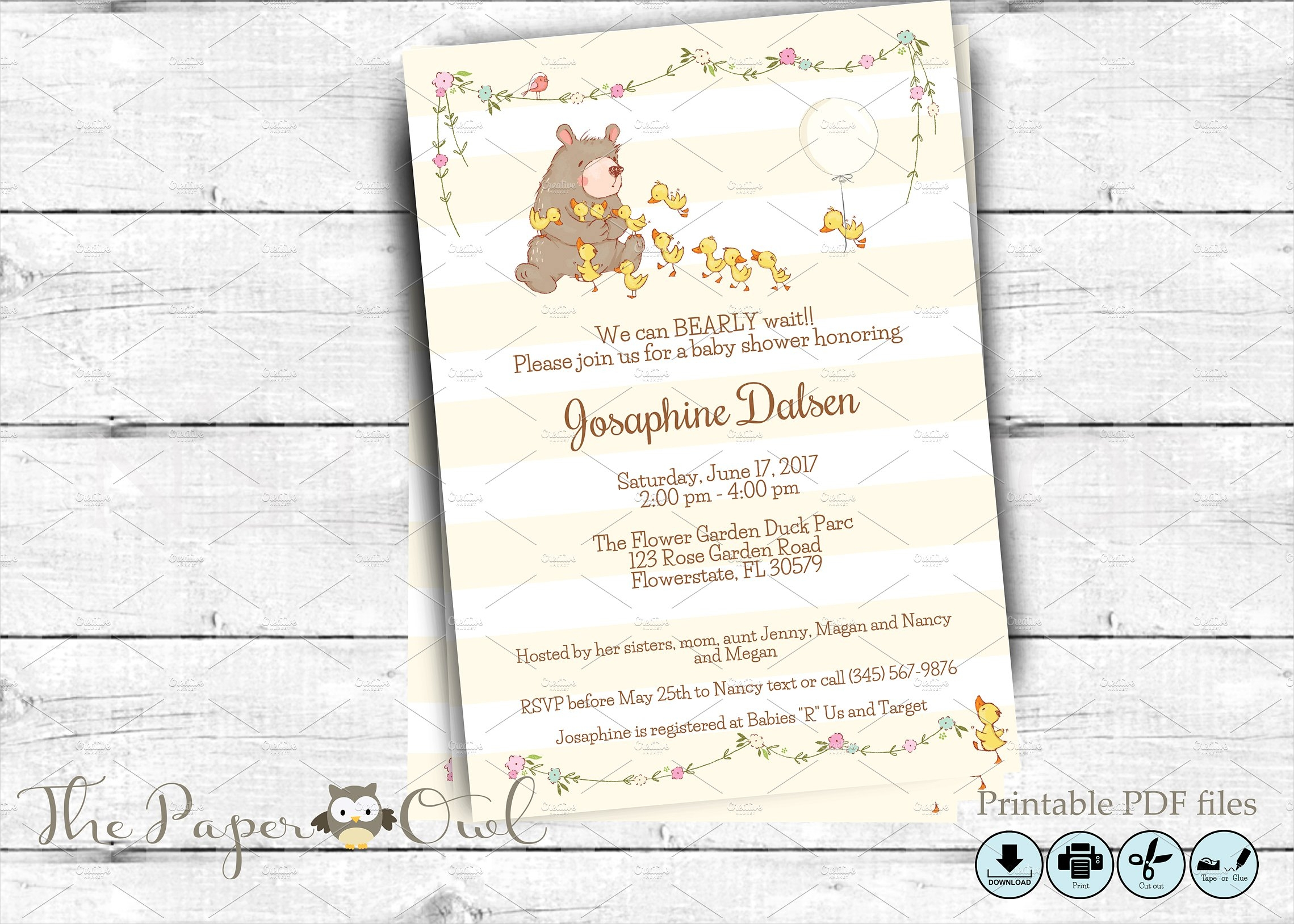 bear baby shower invitation