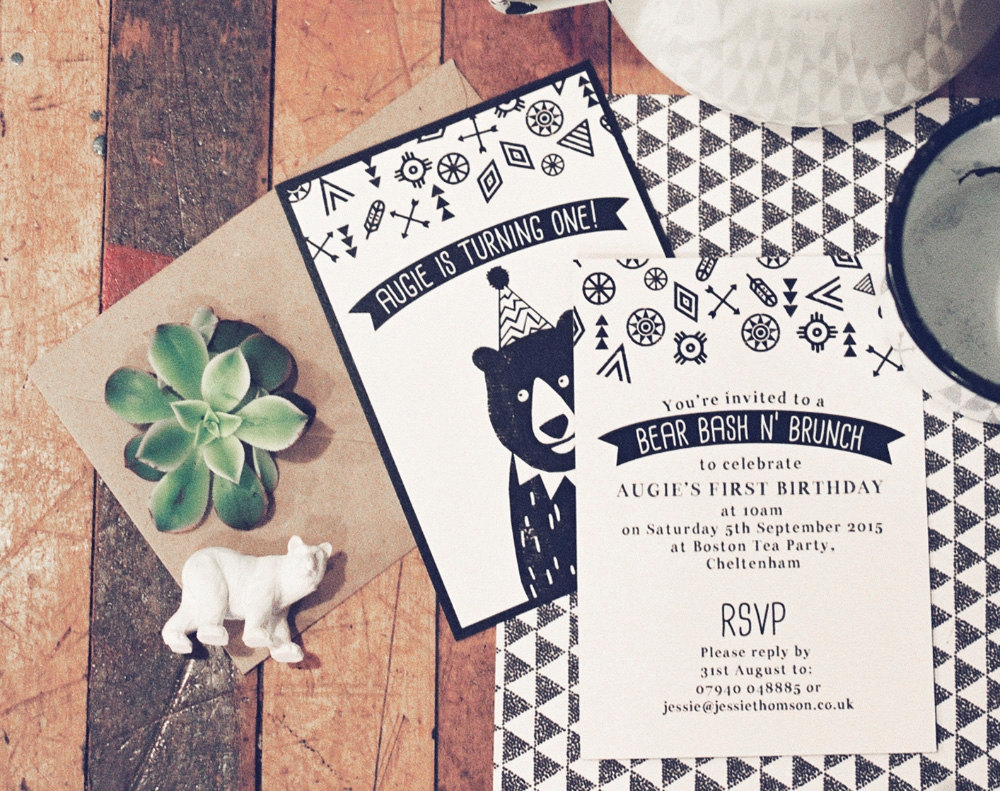 bear childrens party invitation card
