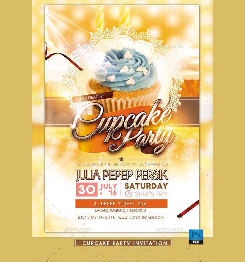 beautiful cupcake party invitation