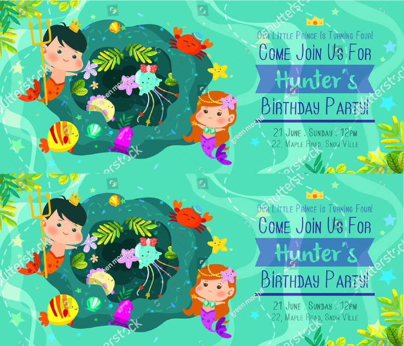 beautiful under the sea birthday invitation