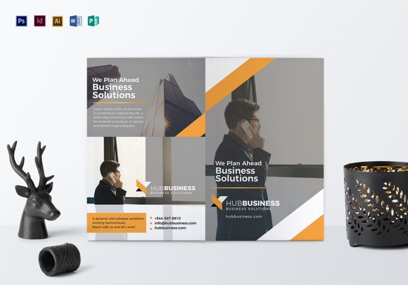 bi fold business brochure template