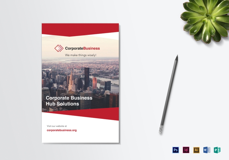 bi fold corporate business brochure template