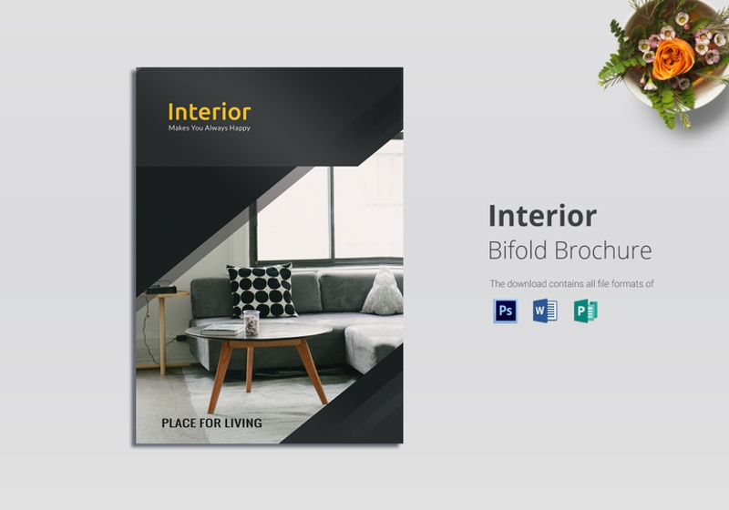 bi fold interior brochure design template
