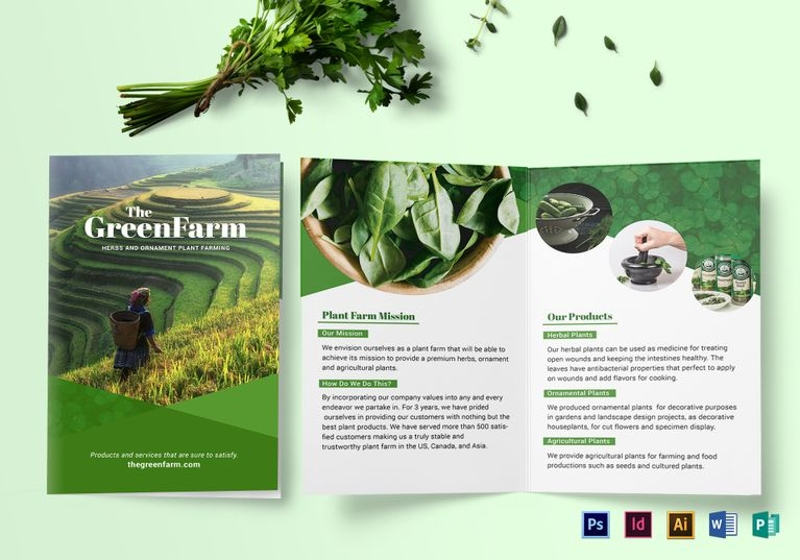 bi fold green brochure template
