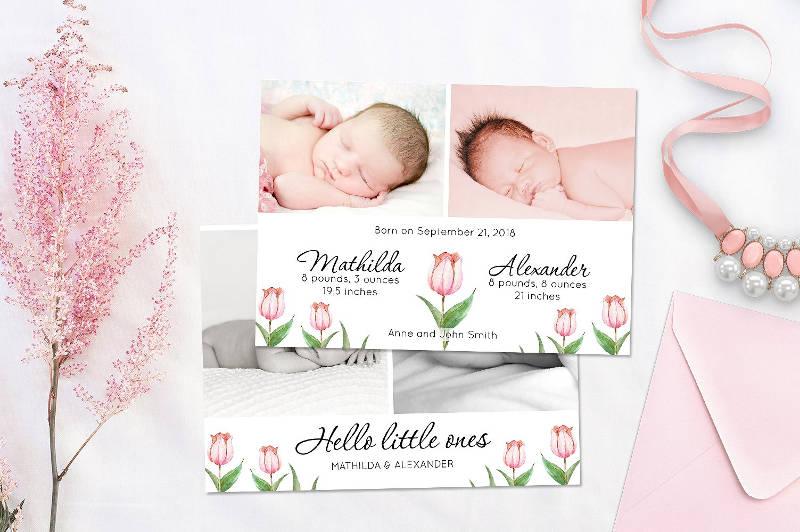 birth announcement invitation template card