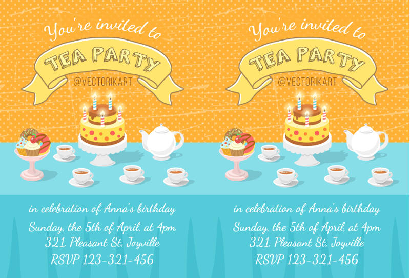 birthday celebration tea party invitation template