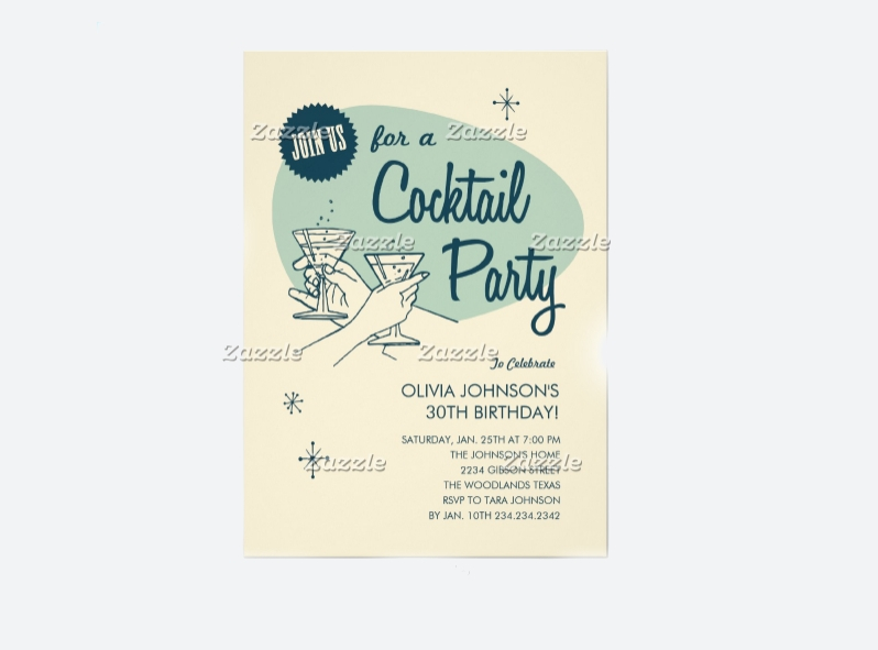 birthday cocktail party invitation