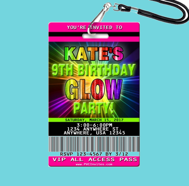birthday glow dance party invitation