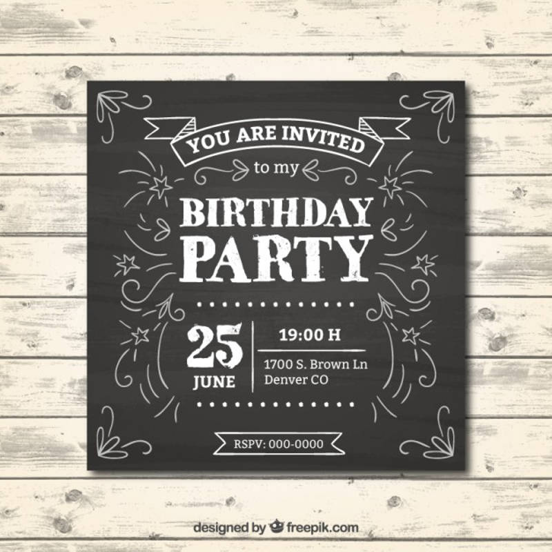 birthday invitation in chalkboard