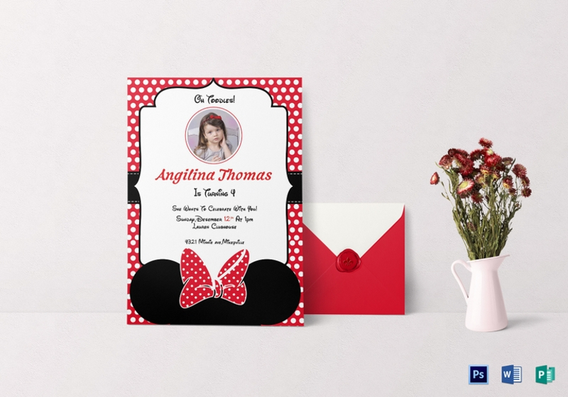 birthday minnie mouse invitation card