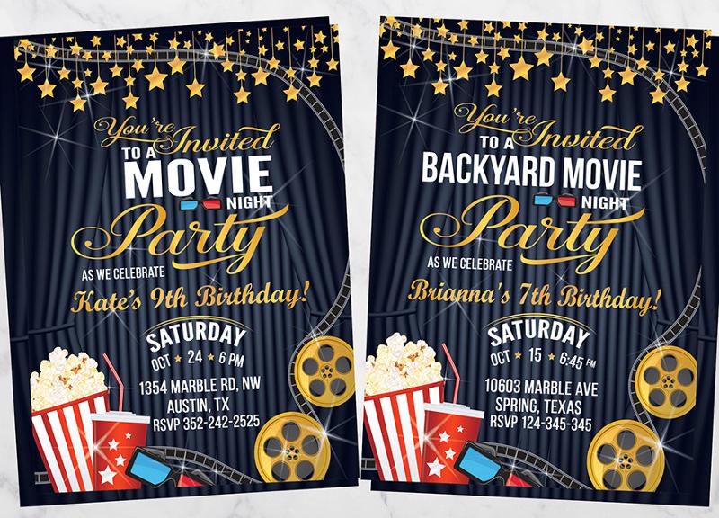 birthday movie night invitation