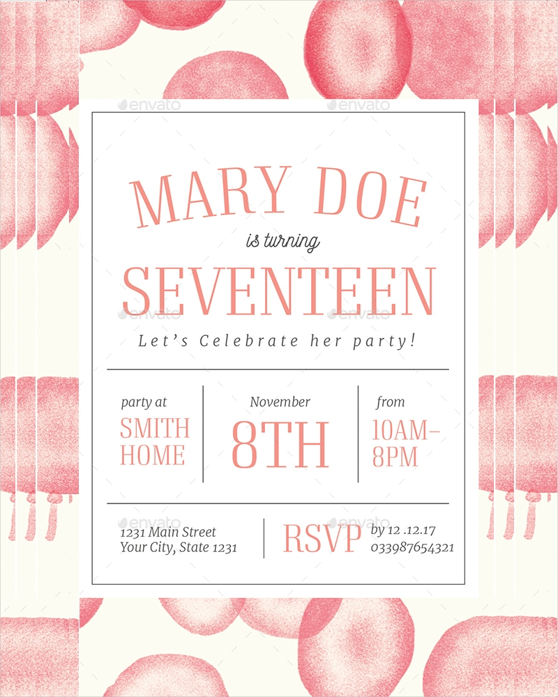 birthday party invitation in psd