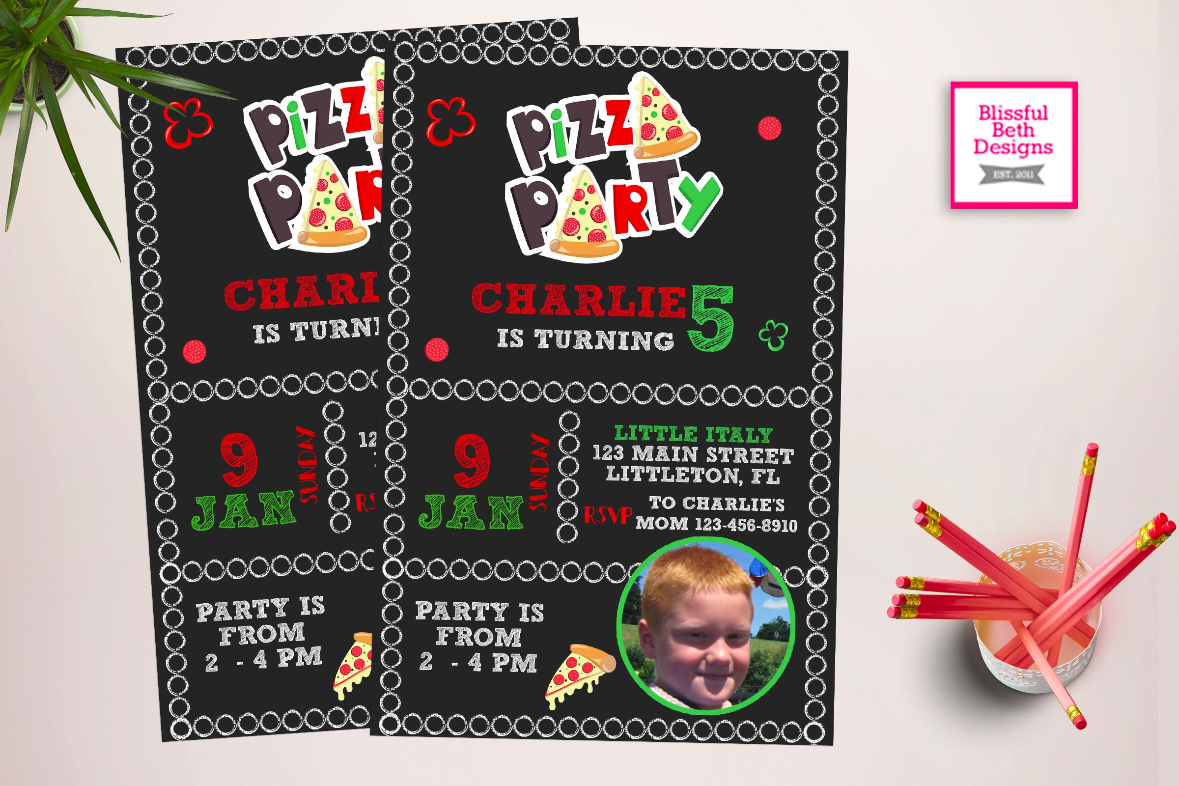 birthday pizza party invitations