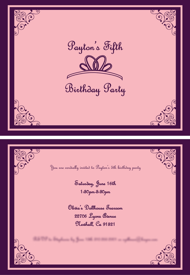 birthday princess invitation