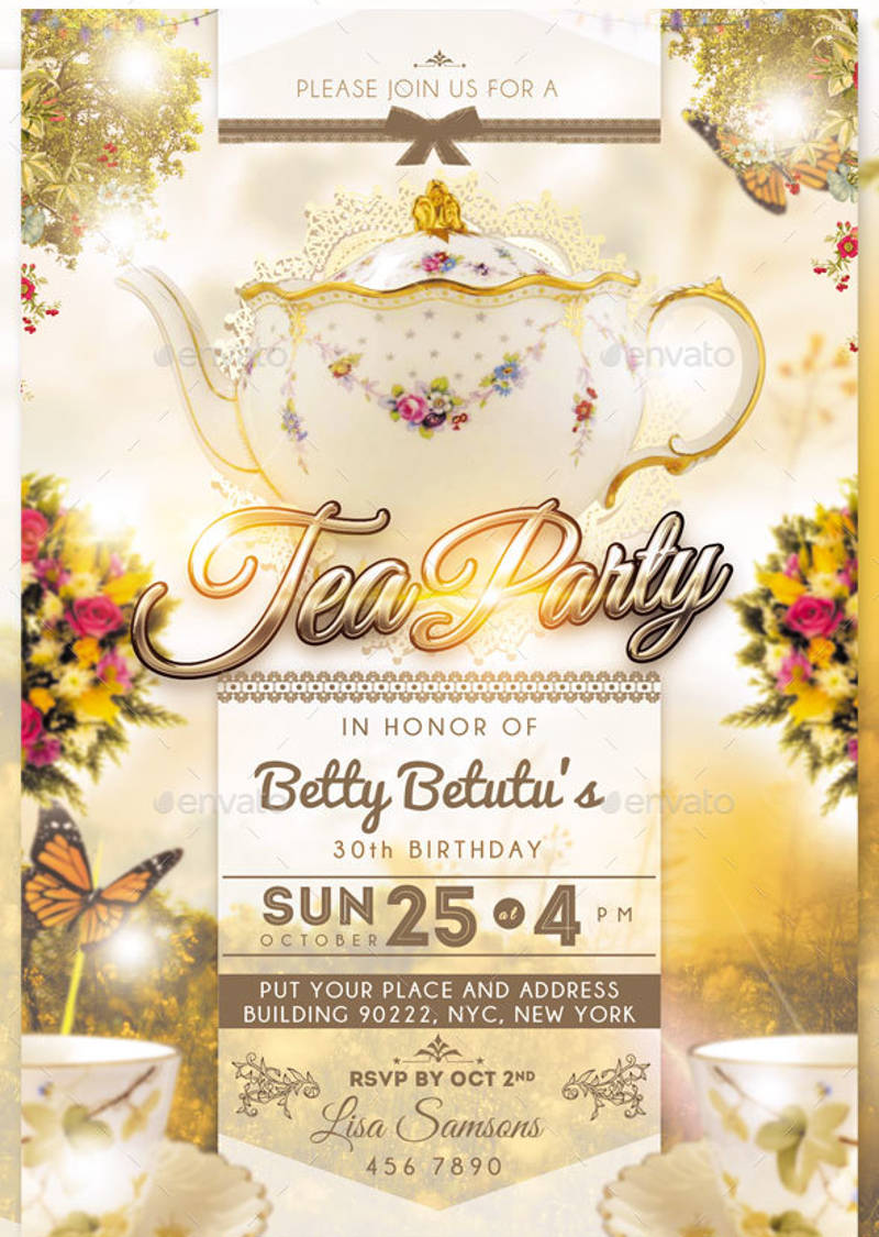 birthday tea party invitation in psd