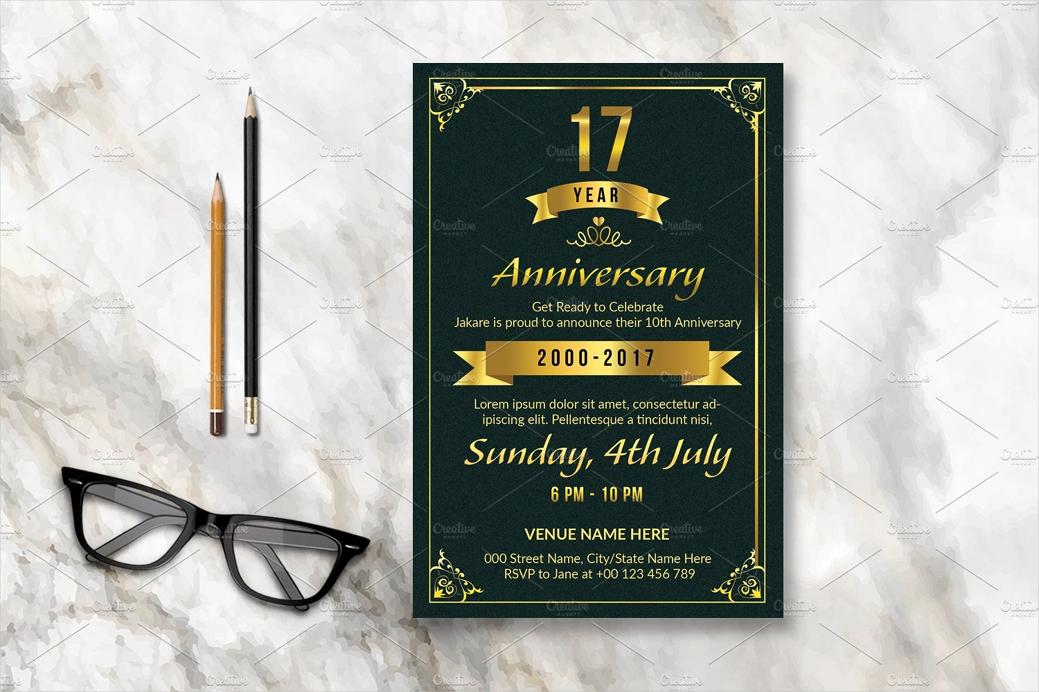 black anniversary party invitation