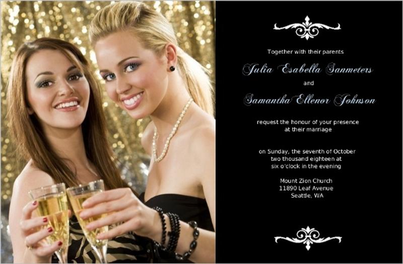 black formal swirl gay wedding invitation