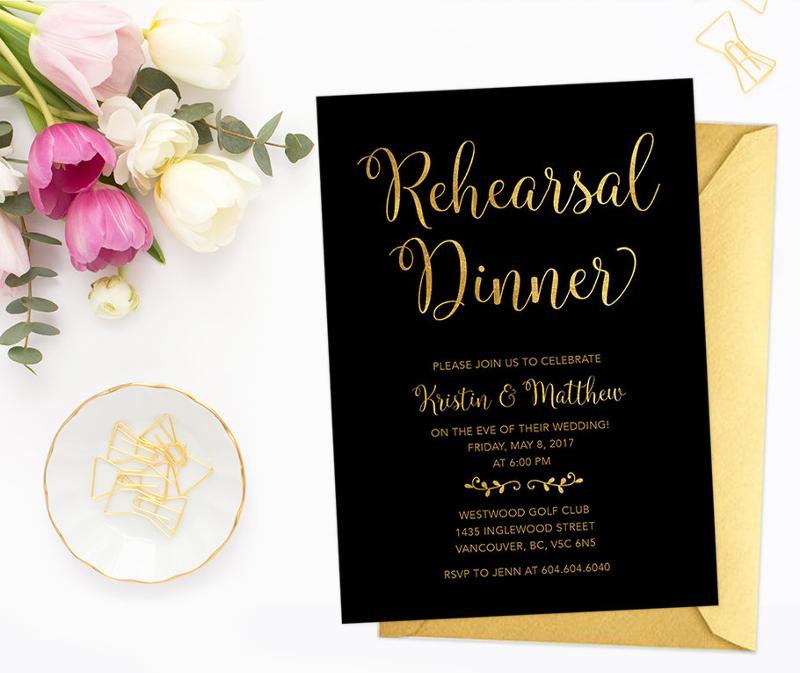 black gold rehearsal dinner invitation
