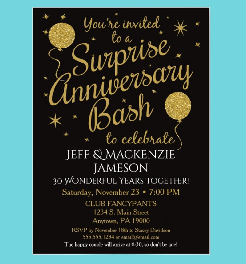 black gold surprise anniversary party invitation