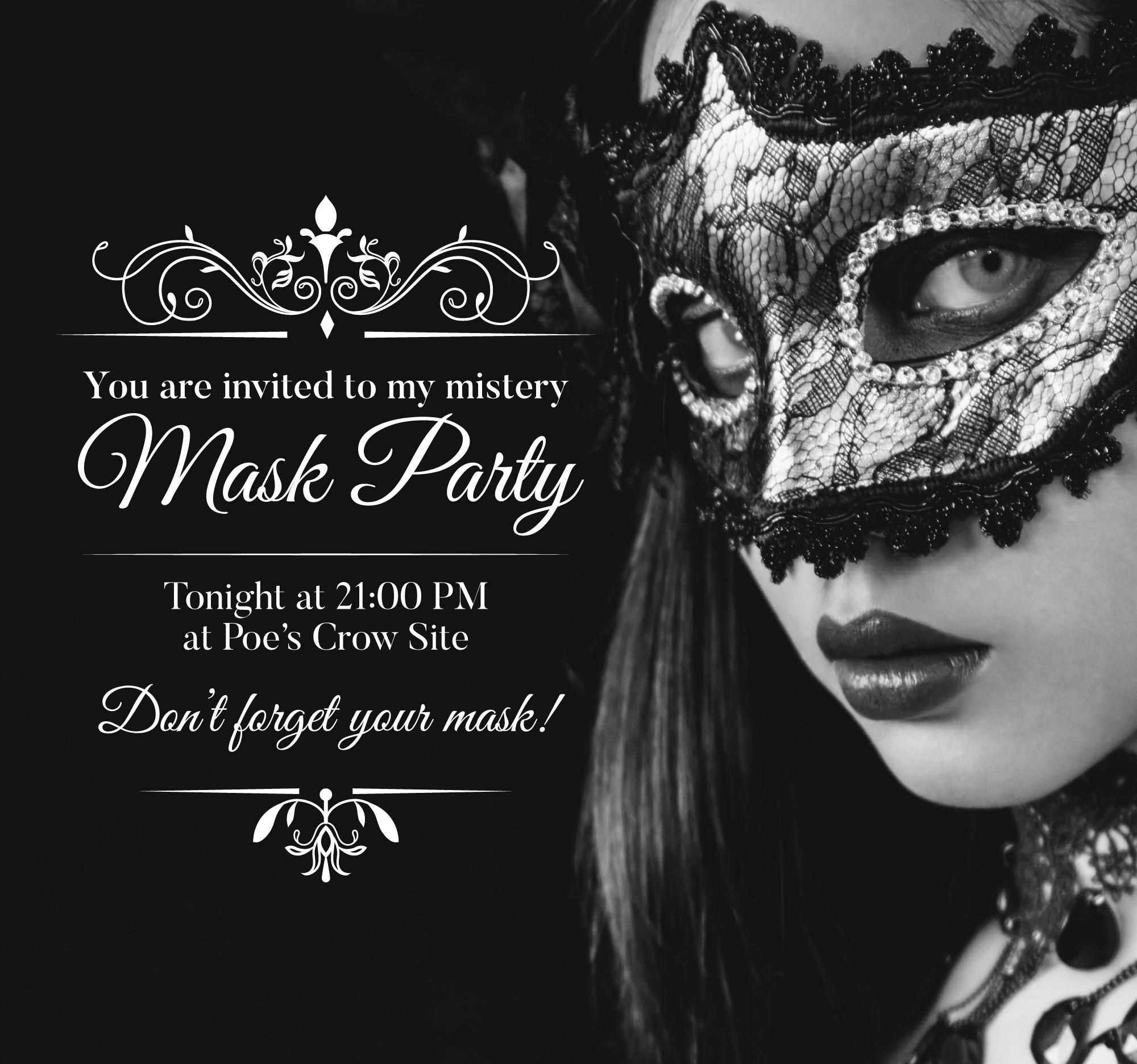 black masquerade party invitation