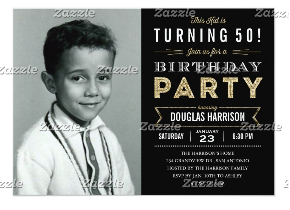 black old photo adult birthday party invitation