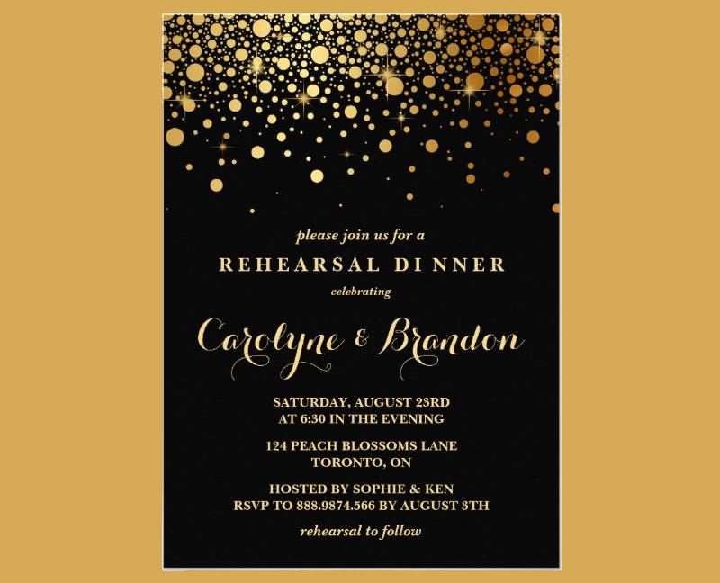 black rehearsal dinner invitation card1