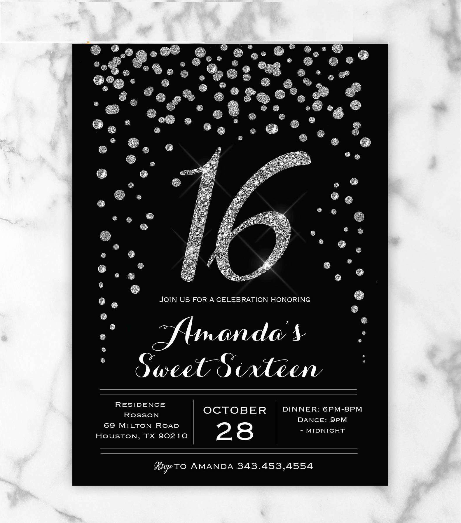 black silver sweet 16 invitation template