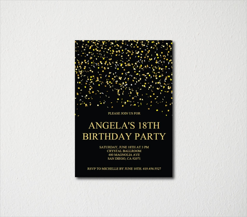 black and gold 18th birthday invitation