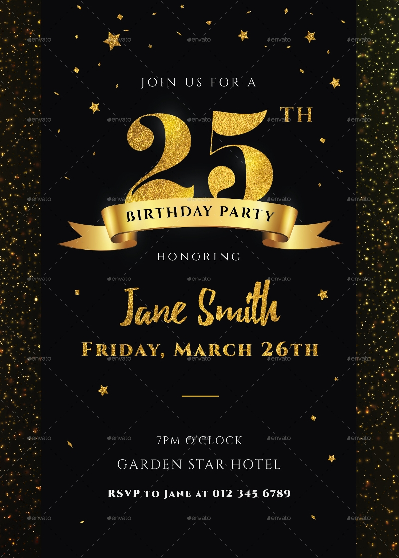 black and gold 25th birthday invitation