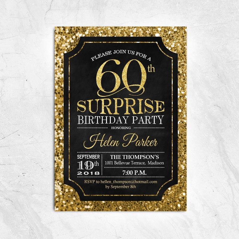 black and gold 60th birthday invitation