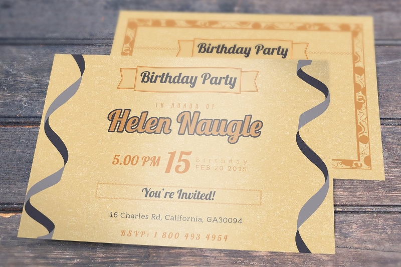 black and gold birthday invitation in psd