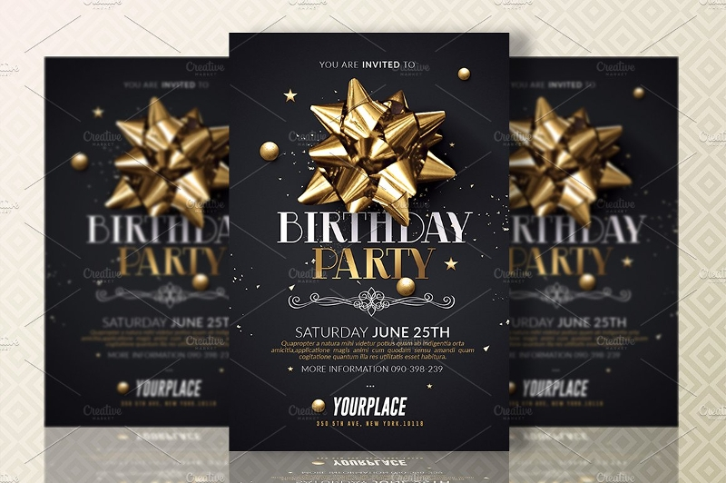 black and gold birthday party invitation