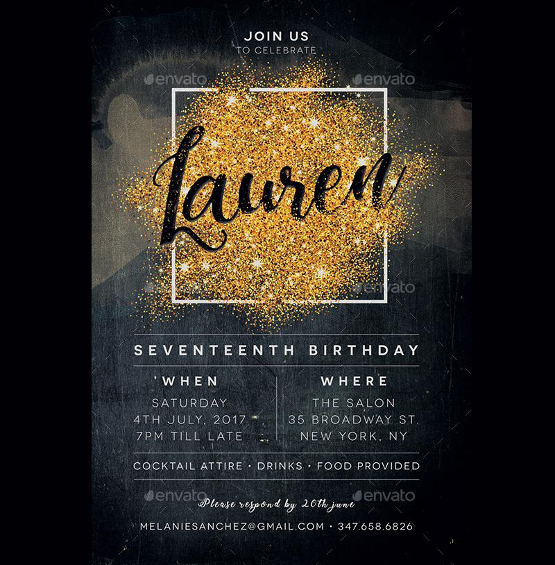 black and gold17 birthday invitation