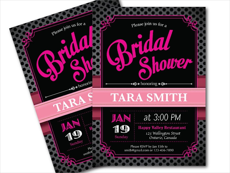 black and pink bridal party invitation